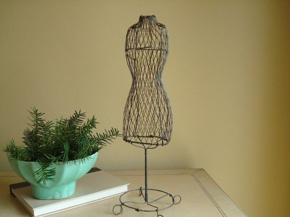 Vintage mini wire mannequin  dress form display via EtsyWire Dress Mannequin