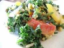 ... salad with leeks, roasted golden beets, kale and orange maple dressing