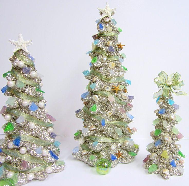Sea Glass Sea Shell Christmas Trees Christmas Pinterest
