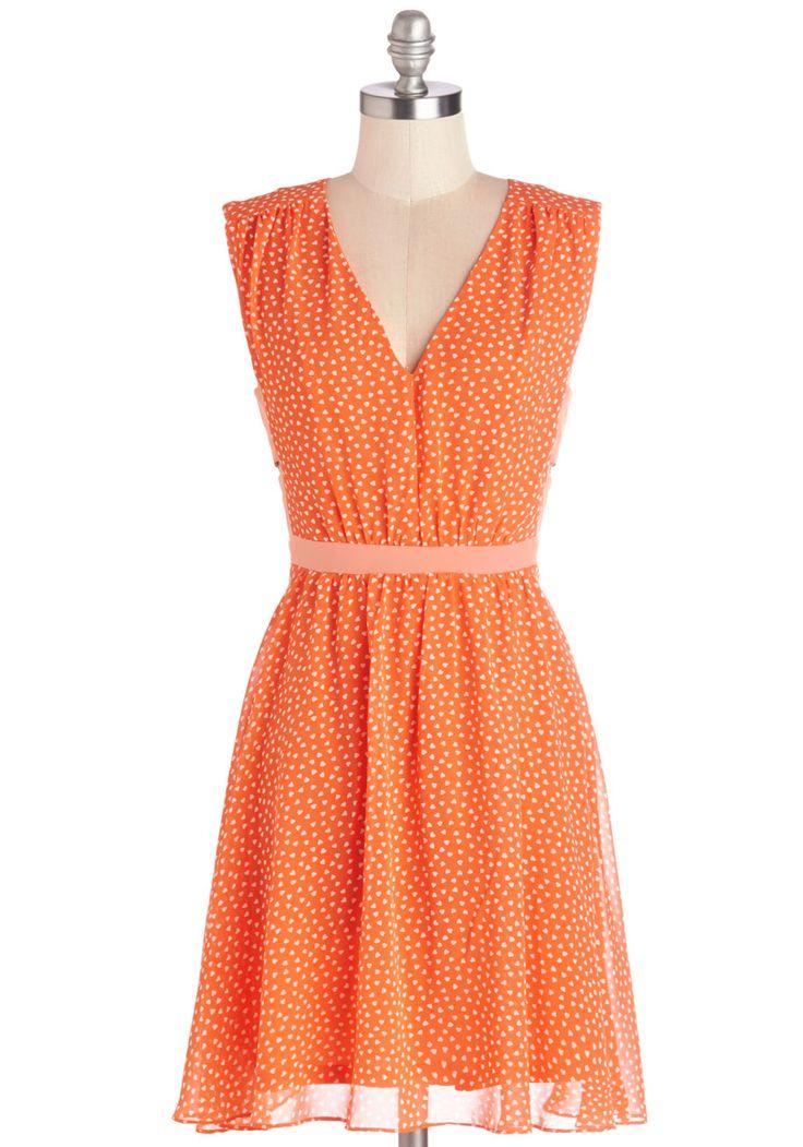 herb garden party dress in orange