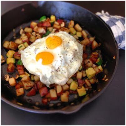 Eggs over Skillet Zucchini & Mushroom Potato Hash | Little Lady, Big ...