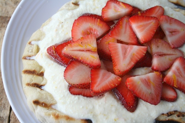 Grilled Pizza with Fresh Ricotta & Strawberries