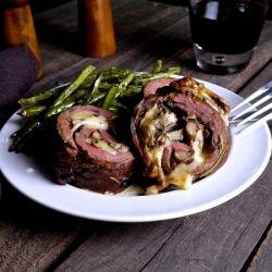 Bourbon Marinated Flank Steak Stuffed with Roasted Mushrooms, Sage and ...