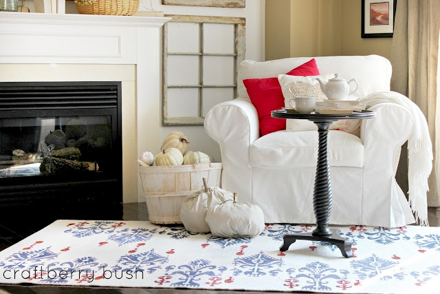 DIY ikat stenciled rug via Craftberry Bush
