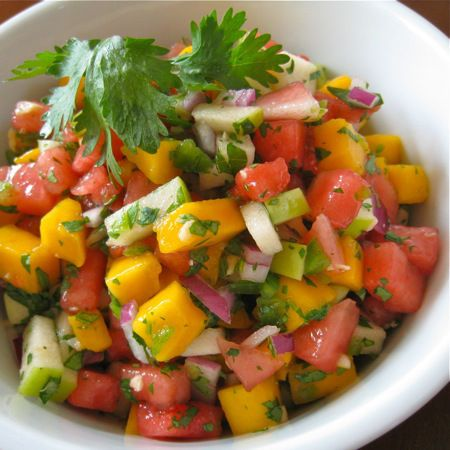 Sweet & Hot Watermelon salsa 2 1/2 to 3 cups diced seedless watermelon ...