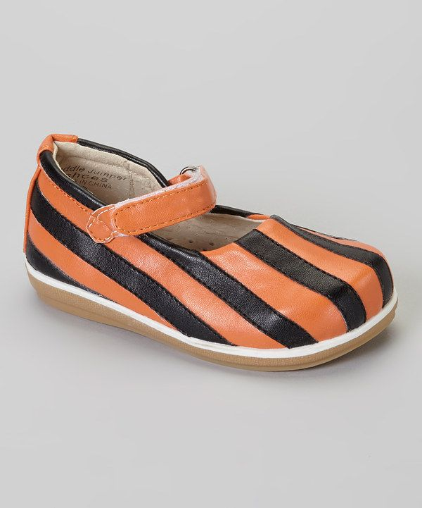 Take a look at this Puddle Jumper Shoes Orange & Black Stripe Jr. Mary
