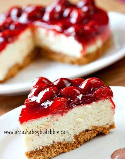 Cheesecake with glazed strawberries | Edibles. | Pinterest