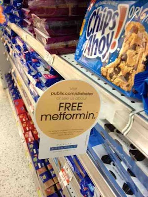 PCOS funny!!! Free Metformin next to the Chips Ahoy shelf