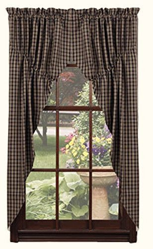 "... Primitive Country 63"" BLACK & TAN CHECK PRAIRIE CURTAIN Window Swag"