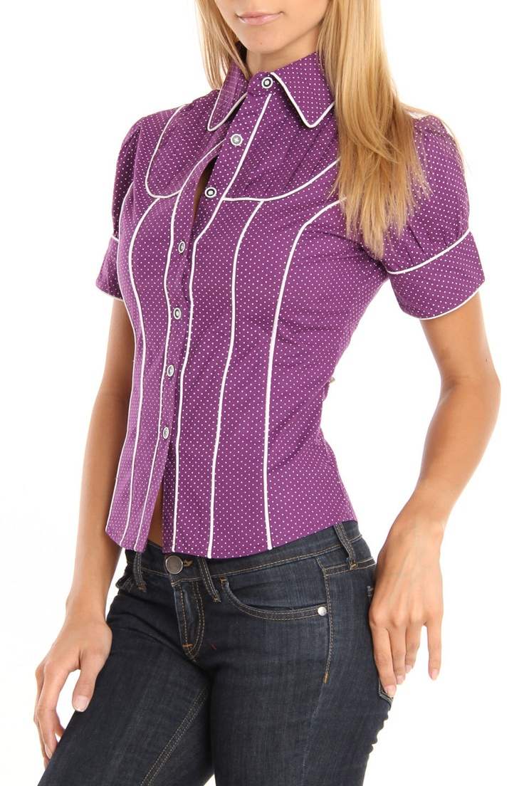 leila blouse in purple look for less clothes