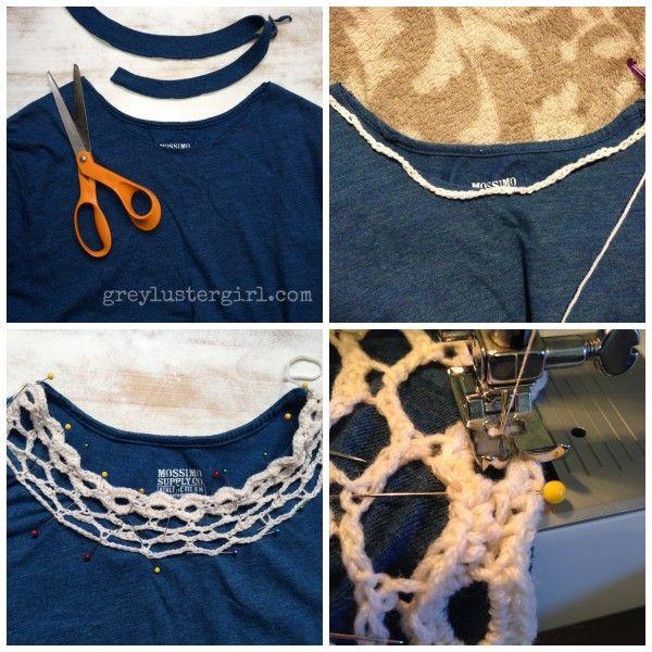 Crochet collar shirt refashion | crafty fun | Pinterest