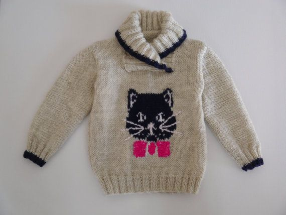 Knitting Pattern Cat Jumper : 3 to 4 years Jumper with cat and mice Knitting Pattern, Sweater Knitt?