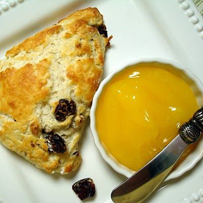 Warm Cherry-Walnut Scones with Lemon Curd | A Spicy Perspective