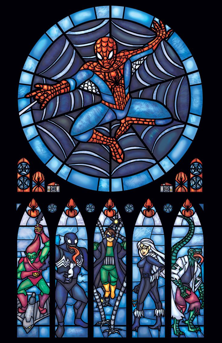 Spiderman Stained Glass Window Print Half Size