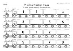 Missing numbers train worksheets (counting in 1s) (SB7510) - SparkleBox