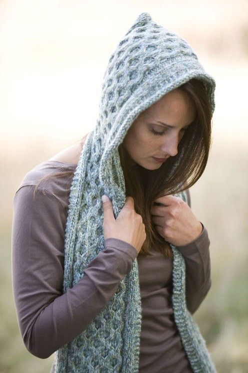 Pixie hood scarf. Knit One Purl Two Pinterest