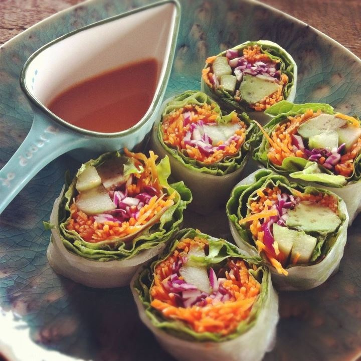 Carrots - Cabbage - Spring roll wraps Roll and slice - Dipping sauce ...