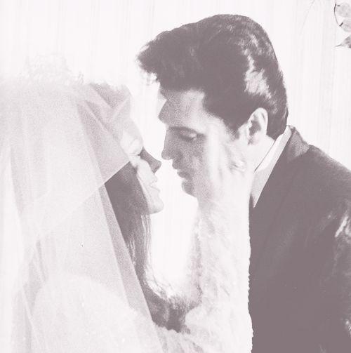 Elvis and Priscilla wedding kiss | Elvis | Pinterest