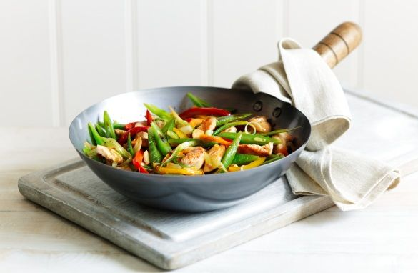 Chicken, pepper and bean stir fry with orange and ginger