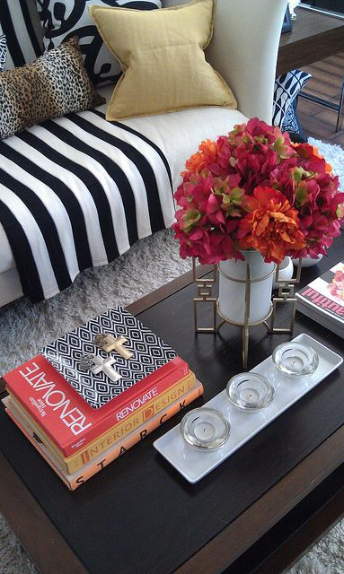 Coffee Table Styling - Spring floral + stripes  - Lynda Quintero-Davids