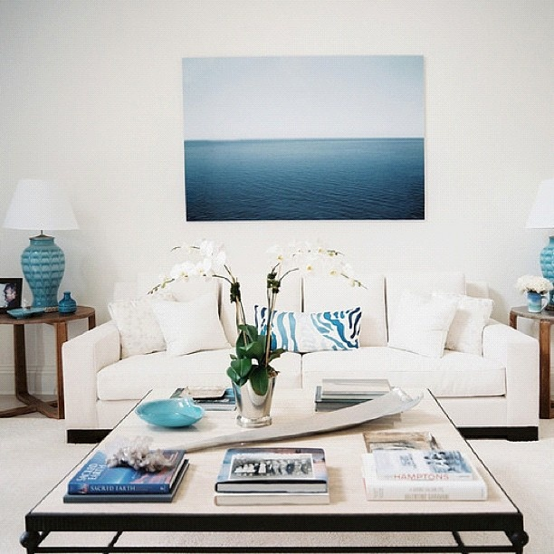 White and blue decor