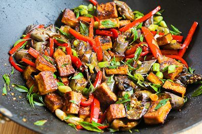 ... Spiced Stir-Fried Tofu with Eggplant, Red Bell Pepper, and Thai Basil