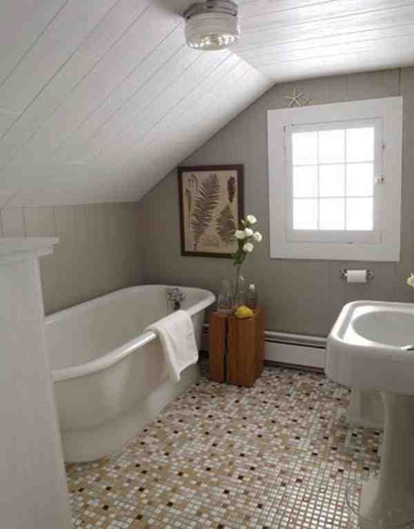 Small attic bathrooms with slanted rooves attic for Small bathroom with sloped ceiling