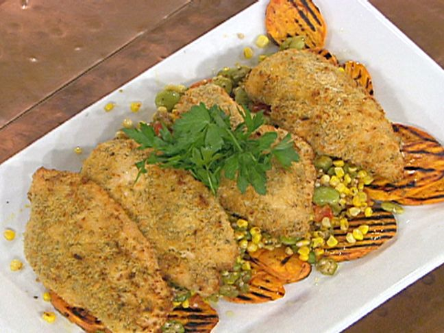 "Oven ""Fried"" Chicken with Summer Succotash and Grilled Sweet Potato..."