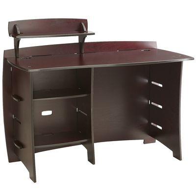 Tool Free Desk With Side Shelf Brown Espresso