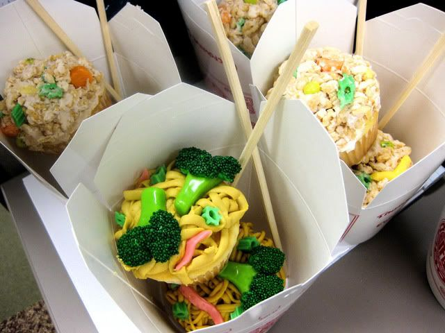 chinese takeout cupcakes green tootsie rolls cut and dipped in green ...