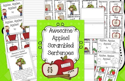 Teaching With Love and Laughter: Awesome Apples! Scrambled Sentences