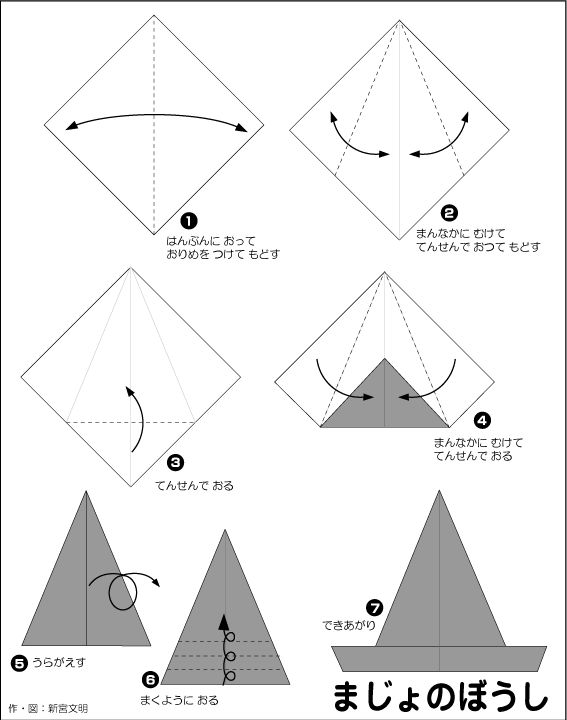 すべての折り紙 魔女の帽子 折り紙 : Halloween Witch Hat Origami Instructions