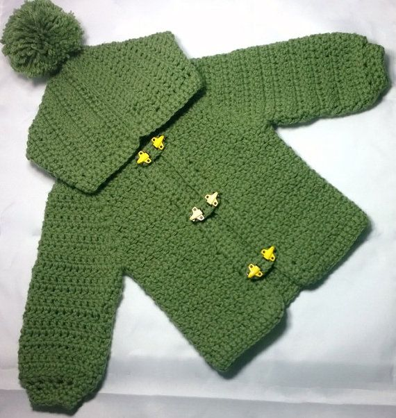 Hooded Crochet Baby Boy Sweater & Matching Hat with Pom Pom