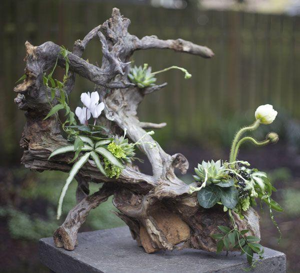 Branch flower arrangement driftwood arrangements pinterest for Floral arrangements with branches