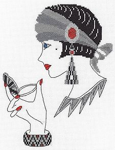 Classic Embroidery Cross Stitch Kit, Amber. A super art deco style counted cross stitch kit from Classic Embroidery, based on the original art work of Di Kaye.