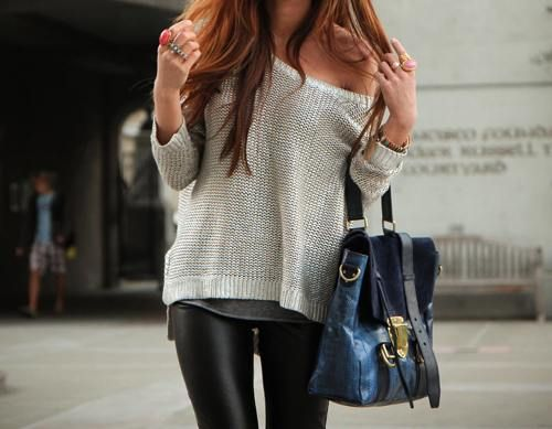 sweater and pleather leggings