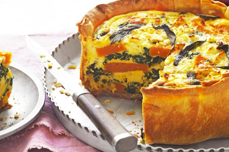 This roasted pumpkin, feta and sage quiche makes a hearty vegetarian ...