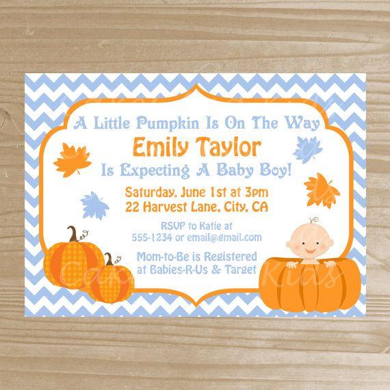 pumpkin baby shower invitation blue chevron pumpkin invitation pr