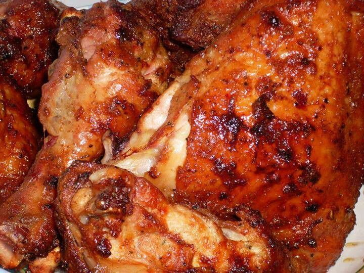 ... . Grill, basting with the marinade when chicken is about half done