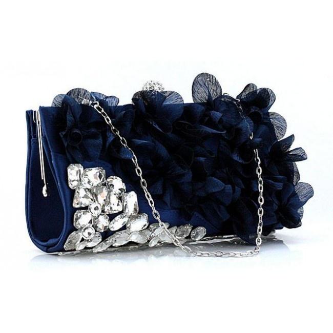 Navy Blue Crystal Floral