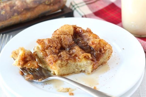 Baked eggnog french toast... the perfect Christmas breakfast!