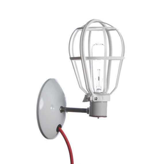 Wall Mount Lamps Plug In : Industrial Lighting - Modern Cage Light - Wall Mount Sconce - Plug In
