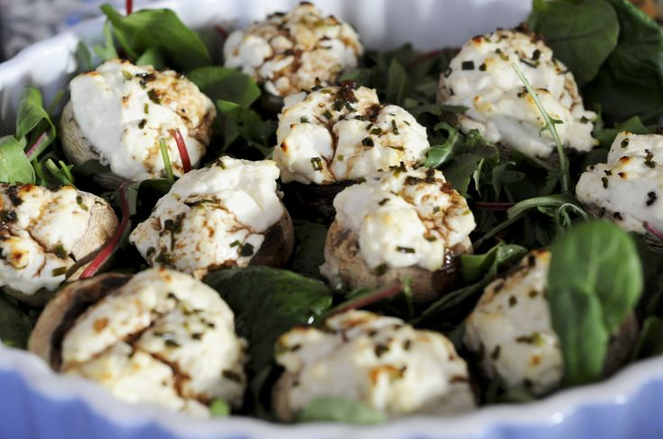 Goat cheese stuffed mushrooms-i used honey goat cheese. Delicious!