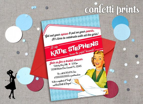 Retro Housewife Bridal Shower Invitation by ConfettiPrintsShop, $12.00