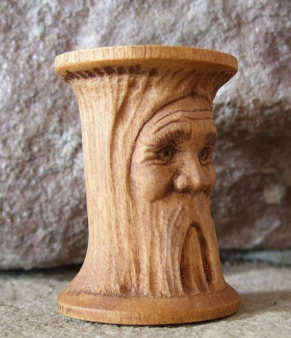 Hand carved mountain man wooden sewing spool