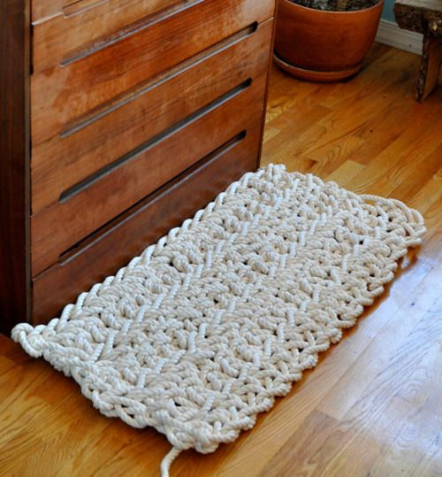 Crocheted Rope Rug - try this with smaller rope as a larger rug...