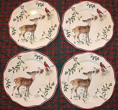 Christmas Better Homes Garden Mistletoe Salad Dessert Plate Set 4 Fawn Deer Ebay China