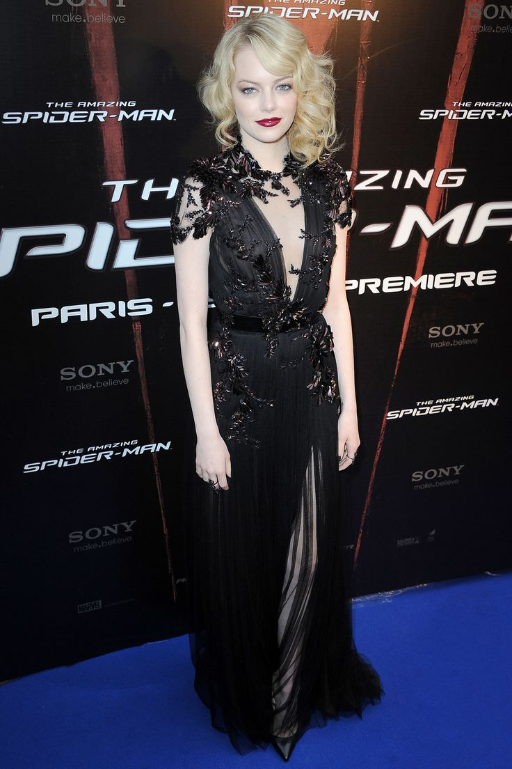 Emma Stone wore Gucci at the Paris premiere of The Amazing Spider-Man, 2012