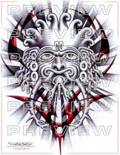 warrior snake face tattoo