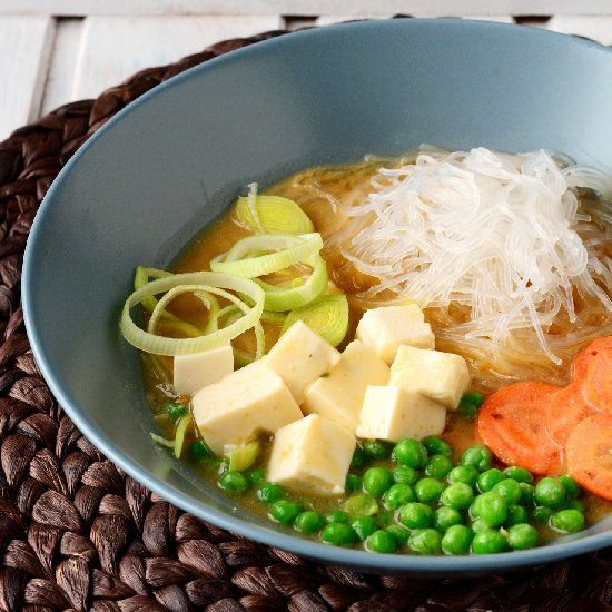 ... soup udon with tofu and stir fried vegetables vegetables and tofu